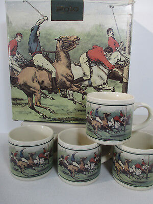 Ralph Lauren Polo Thoroughbred Mugs Box Vintage 1978 Set of 4 Horses Hunt Club