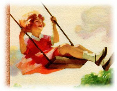 "Original 1930 Ad Girl on a Swing Watercolor Lithograph Big 12"" two-sided Page"