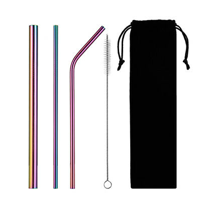 5pcs Drinking Straw Stainless Steel Straight/ Bend Metal Straw with Clean Brush