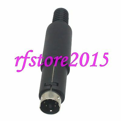 5pcs Connector mini DIN 6 pin male plug with plastic Handle black for cable