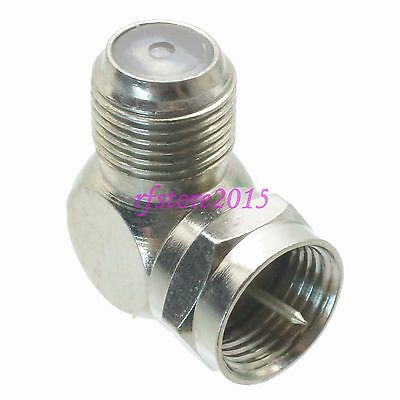 10pcs Adapter Connector F TV male plug to F TV female jack right angle for TV