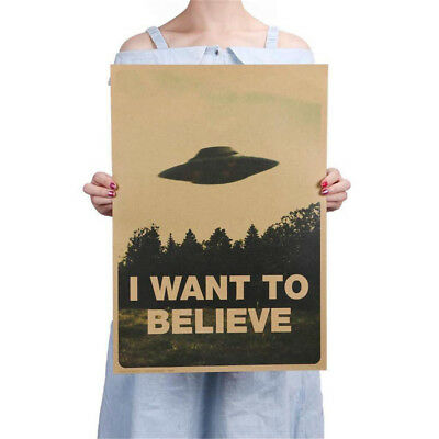"Vintage Classic ""I Want To Believe"" Poster Home Decor Kraft Paper Wall Sticker"