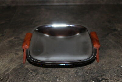 Vintage Glo-Hill Chrome Serving Dish Small Tray with Butterscotch Bakelite