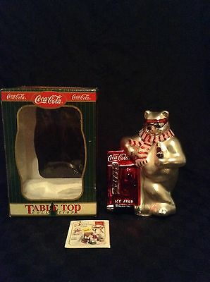 New Open Box Mercury Glass Coca Cola Table Top Polar Bear Pop Machine Figure