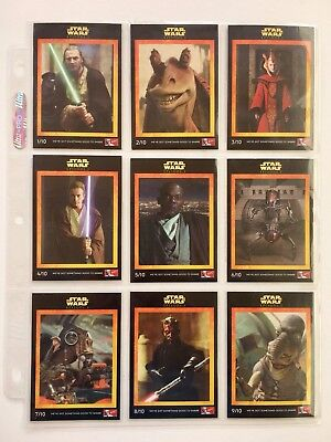 Star Wars Episode 1 - Phantom Menace - Card SET (10) - 1999 KFC (AUSTRALIA)