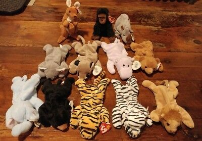 Lot of 12 Ty Beanie Babies - Jungle