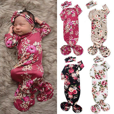 US Newborn Baby Girls Floral Long Sleeve Sleeping Bag Swaddle Wrap Headband Set