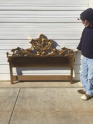 Fancy Cast Iron Or Heavy Aluminum Hollywood Regency Full And Queen Headboard Bed