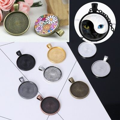 10Pcs Jewelry Pendant Trays Round Bezel Fit 25mm Glass Cabochon Making