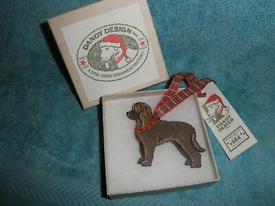 Irish Water Spaniel, Hand Painted Wood Ornament, Dandy Designs