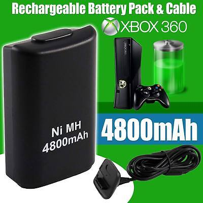 Rechargeable Wireless Controller USB Charge Cable+ Xbox 360 Battery Pack 4800mAh
