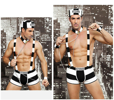 Sexy Men's Prisoner Uniform Role Play Party Outfit  Underwear Costume Cosplay