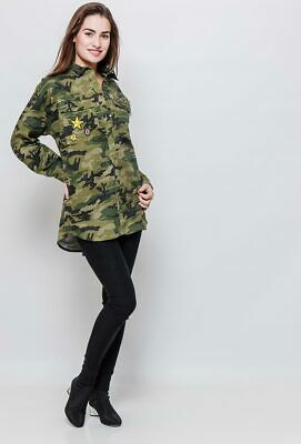 New Ladies Womens Army Military Style Shirt Green Camouflage Loose Baggy Blouse