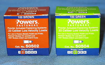 1 Box Brown #2 & 1 Box Green #3 POWERS .22 Cal Low Velocity Powder Fasteners