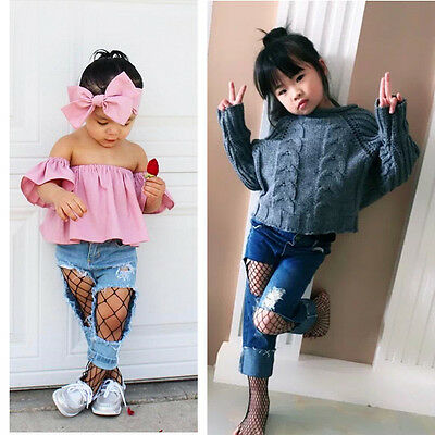 Fashion Kids Baby Girl Mesh Hole Fishnet High Knee Lace Socks Cute Cotton Tights