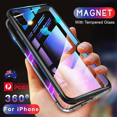 Magnetic Metal Frame Bumper Tempered Glass Back Case Cover for iPhone X 8 7 Plus