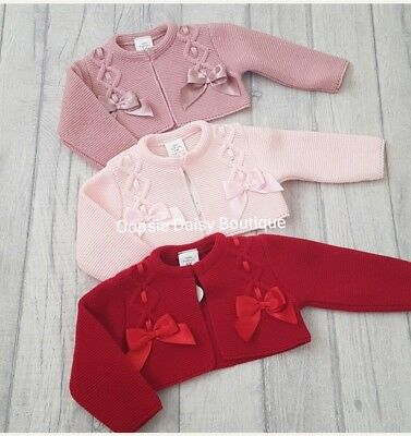 Baby Girls Gorgeous Spanish Bolero Double Ribbon Bow Cardigans upto Age 18mths