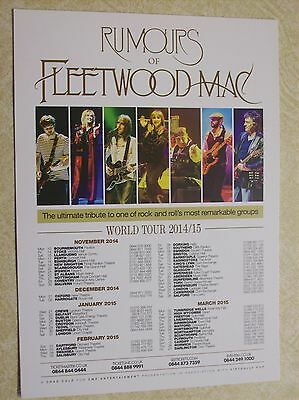 Rumours of Fleetwood Mac Tribute Band World Tour 2014/2015 Handbill/Leaflet