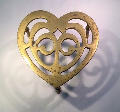 Antique Heart Shaped Three Legged Brass Trivet Stand Turned Legs