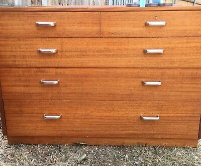 Vintage 1970s War dept Utility mark sturdy wood chest Of Drawers