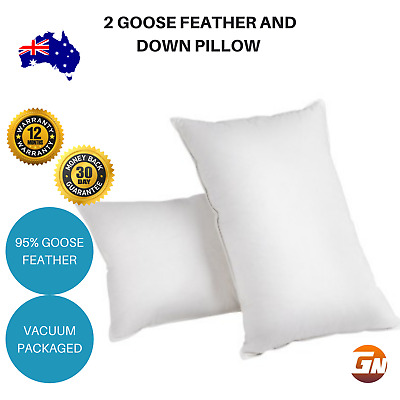 Set of 2 Goose Feather and Down Pillow Luxury Hotel Premium Quality