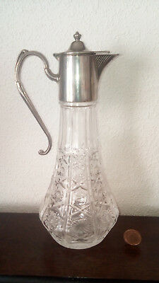 Vintage Molded Glass Claret Jug Decanter With Silver Plated Mount Star Cut Base