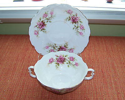 1 ROYAL ALBERT Bone China ROMANCE Cream Soup Bowl & Under Plate Made in England