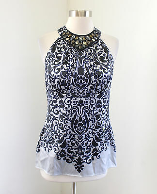 75fe1aa66f20d2 Cache Black Blue Printed Silk Blend Beaded Tank Top Blouse Size S Floral  Jewel