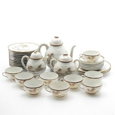 Antique Japanese or Chinese Thin China Porcelain 30+ Piece Tea Set & Plates