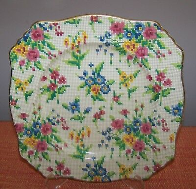 Royal Winton square QUEEN ANNE (Australia) Chintz Cake Plate Made in England VGC