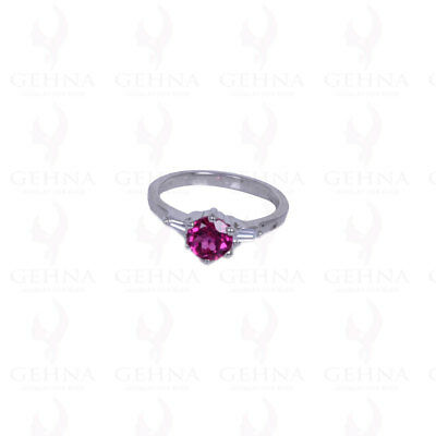 Round Shape Pink Tourmaline Gemstone Studded Ring In .925 Solid Silver Sr1085