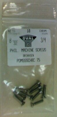 """(9pcs) Chrome-Plated Stainless Steel Phillips Oval Head Screws, 8-32 x 3/4"""""""