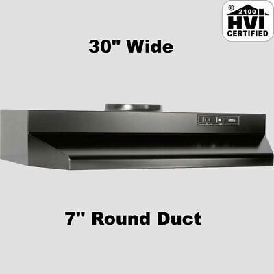 """BLACK OVER THE STOVE RANGE HOOD Ducted 30"""" Exhaust Fan Kitchen Under Cabinet NEW"""