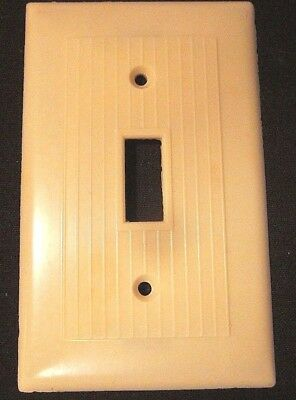 Vintage Snapit Switch Wall Plate Cover Beige Bakelite Ribbed Lines Art Deco