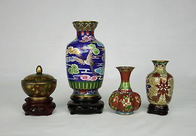 Lot of Four (4) Chinese Cloisonne Small Vases and a Censer
