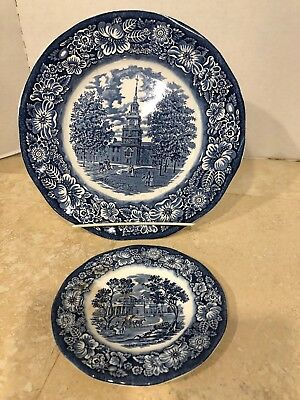 "Staffordshire Liberty Blue Independence Hall 10"" Plate&Monticello 6"" Bread Plate"