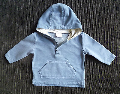 Baby clothes BOY 3-6m mid-blue sweatshirt/hooded jacket lightweight fleece-lined