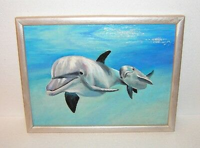 RUSSIA Collectible PICTURE / PAINTING / ARTWORK HANDMADE - DOLPHIN. Oil Painting
