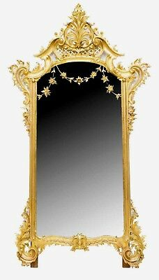 HUGE Antique Gold Leaf Gilt Mirror H 7 ft x W 4 ft  Louis XV Style 1800's Rococo