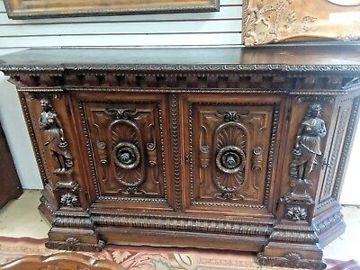 "Antique Italian Walnut Carved Sideboard Cabinet Buffet W 88"" Renaissance Revival"