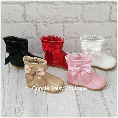 Girls Spanish Style Patent Ribbon Boots - PLEASE SEE SIZING BEFORE PURCHASE
