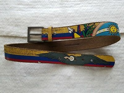 Vintage Boho Hippie Colorful Leather Belt Size 34 Vulture, Sun, Dove, Cross