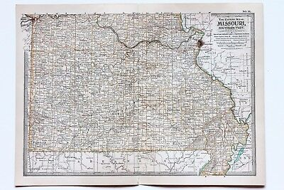 1906 MISSOURI MAP St Louis New Madrid Southern Part ...