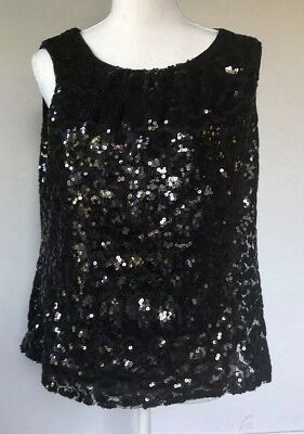 Calvin Klein Black Sequined Front And Back Sleeveless Tank Top Size L Large Sz L