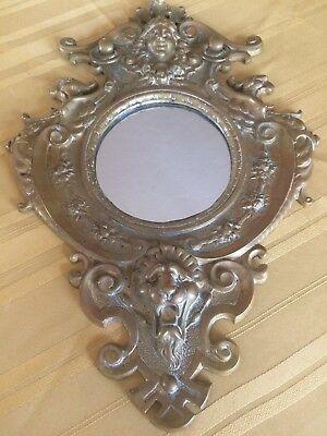 MAGNIFICENT heavy metal BRONZE ANTIQUE/VINTAGE LION HEAD/ANGEL MIRROR