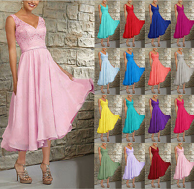 New V-neck Tea Length Evening Dress Bridal Bridesmaid Dresses Size 6++++++18