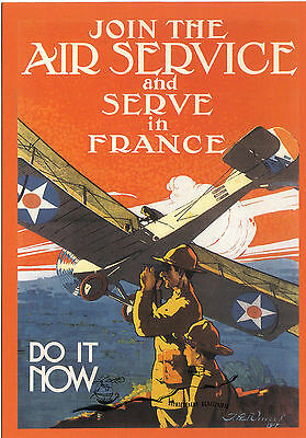 "Kunstkarte: Plakat ""Join the Air Service and serve in France - Do it now""   USA"
