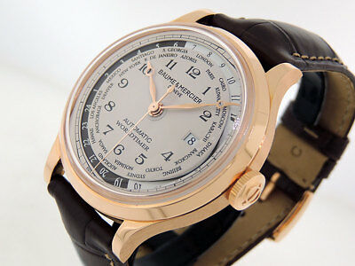 Baume & Mercier Capeland World Timer MOA10107 18k Rose Gold 44mm $21,000 NIB
