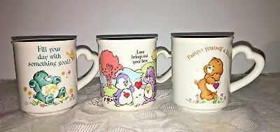 Vtg CARE BEAR Mug Cup LOT of 3 Cousins Heart Handle 1983 American Greetings