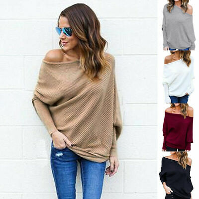 b4ce0080bf3f4d Women Sexy Off Shoulder Sweater Knitted Oversized Baggy Top Ladies Jumper  Blouse